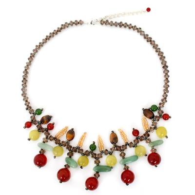 Carnelian and aventurine beaded necklace