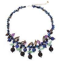 Lapis lazuli and smoky quartz beaded necklace,