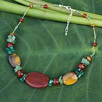 Tiger's eye and carnelian beaded necklace, 'Thai Harmony' - Unique Beaded Tiger's Eye and Carnelian Necklace