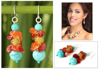 Carnelian beaded earrings, 'Bold Harmony' - Carnelian Beaded Earrings