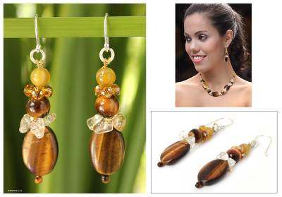 Tiger's eye and citrine beaded earrings, 'Earth's Harmony' - Tiger's Eye and Citrine Beaded Earrings