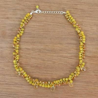 Citrine beaded choker, 'Lavish Golden Lanna' - Beaded Citrine Necklace from Thailand