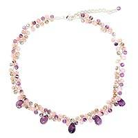 Amethyst beaded choker, 'Lavish Lilac Lanna' - Beaded Amethyst and Quartz Choker