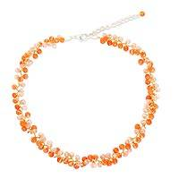 Carnelian beaded choker, 'Lavish Orange Lanna' - Beaded Carnelian Necklace