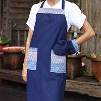 Cotton apron and oven mitt, 'Blue Kitchen Chic' - Cotton Apron and Oven Mitt Set