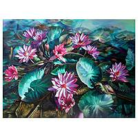 'Pink Water Lily Blossom' (2012) - Floral Oil Painting from Thailand