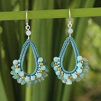 Aventurine and amazonite dangle earrings, 'Flirty Aqua' - Unique Beaded Aventurine and Aquamarine Earrings