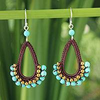 Beaded dangle earrings, 'Flirty Wine' - Unique Crochet Brass and Calcite Earrings