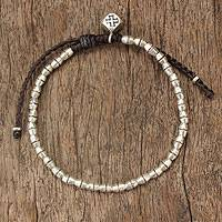 Silver braided bracelet, 'Hill Tribe Cross'
