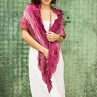 Silk scarf, 'Rose Magnificence' - Pleated Ombre Silk Scarf