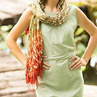 Scarf, 'Fabulous Land' - Handcrafted Silk Blend Scarf