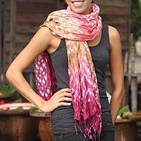 Tie-dyed scarf, 'Fabulous Rose' - Tie-dyed scarf