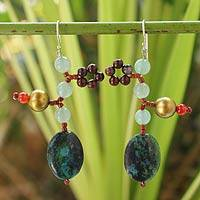 Beaded dangle earrings, 'Spring Romance' - Beaded dangle earrings
