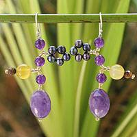 Cultured pearl and amethyst dangle earrings, 'Koh Mun Nork Romance' - Cultured pearl and amethyst dangle earrings