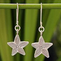 Silver dangle earrings, 'Karen Star Leaf' - Silver dangle earrings