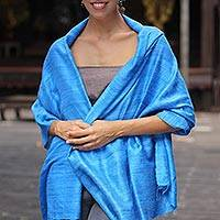 Silk shawl, 'Blue Treasure' - Handcrafted Silk Shawl