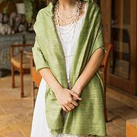 Silk shawl, Green Treasure - Hand Made Silk Shawl