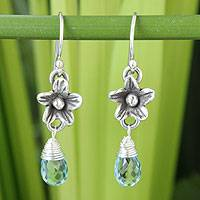 Blue topaz flower earrings, 'Rainforest Dew' - Blue topaz flower earrings