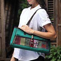Leather trimmed cotton shoulder bag, 'Green Thai Tea' - Leather trimmed cotton shoulder bag