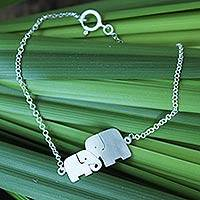 Sterling silver bracelet, 'Family Love' - Unique Artisan Loving Elephant Jewelry