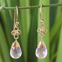Gold vermeil rose quartz dangle earrings, 'Four Petals' - Artisan Crafted Gold Vermeil and Rose Quartz Earrings