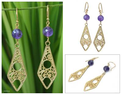 Gold vermeil amethyst filigree earrings, 'Chiang Mai Chic' - Gold vermeil amethyst filigree earrings