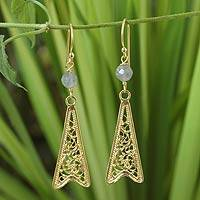 Gold vermeil labradorite filigree earrings,