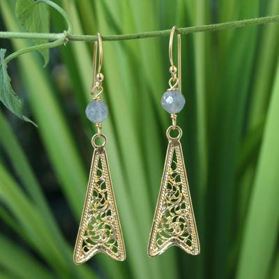 Gold vermeil labradorite filigree earrings, 'Chiang Rai Chic' - Gold vermeil labradorite filigree earrings