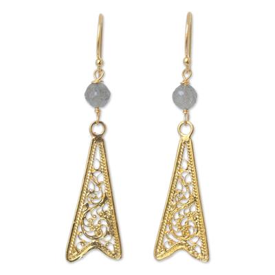 Gold vermeil labradorite filigree earrings