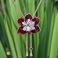 Gold plated natural orchid lariat necklace, 'Scarlet Dancer' - Orchid Necklace with Gold Plating