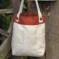 Cotton shoulder bag, 'Contentment' - Cotton shoulder bag