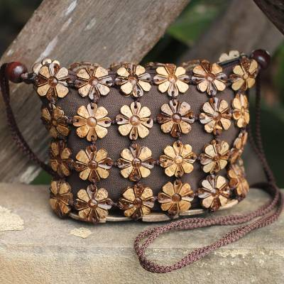 Coconut shell shoulder bag, 'Petite Garden' - Handcrafted Floral Coconut Shell Shoulder Bag