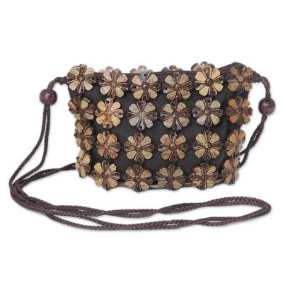 Handcrafted Floral Coconut Shell Shoulder Bag