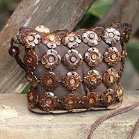 Coconut shell shoulder bag Petite Blossoms Thailand