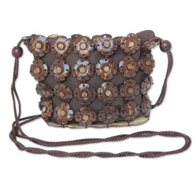 Fair Trade Floral Coconut Shell Shoulder Bag