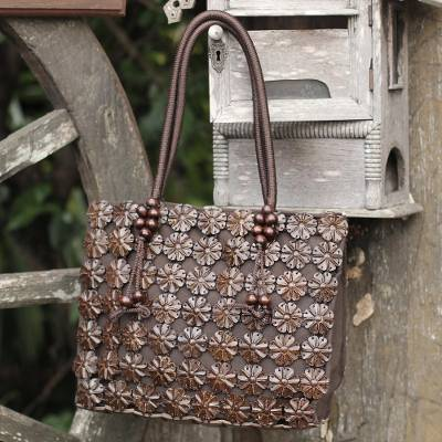 Coconut shell Tote handbag, 'Thai Garden' - Hand Made Floral Coconut Shell Tote Bag