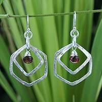 Garnet dangle earrings, 'Seize the Day' - Modern Sterling Silver and Garnet Dangle Earrings