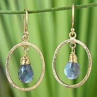 Gold vermeil labradorite dangle earrings, 'Sweet Elegance' - Gold vermeil labradorite dangle earrings