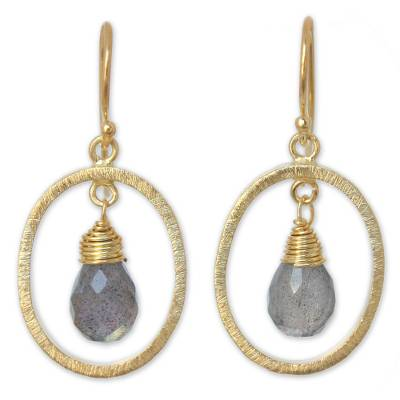 Gold vermeil labradorite dangle earrings