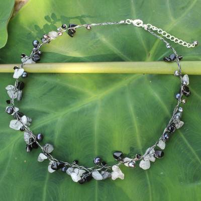Cultured pearl and tourmalinated quartz beaded necklace, 'River of Night' - Beaded Quartz and Pearl Necklace from Thailand