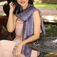 Silk scarf, 'Bold Lily' - Purple Silk Scarf