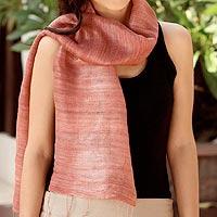 Silk scarf, 'Bold Rose' - Pink Silk Scarf