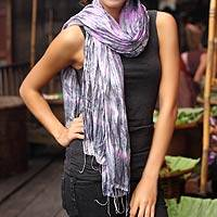 Tie-dyed scarf, 'Smoky Rose' - Tie Dye Scarf from Thailand
