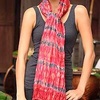 Tie-dyed scarf, 'Smoky Carnation' - Patterned Scarf from Thailand