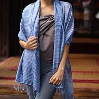 Silk shawl, 'Lavender Melody' - Unique Silk Shawl