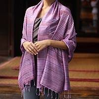 Silk shawl, 'Hydrangea Melody' - Fair Trade Women's Silk Shawl