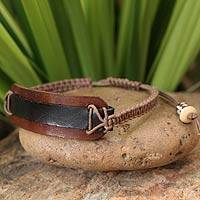 Leather wristband bracelet, 'Black Band' - Leather Wristband Bracelet
