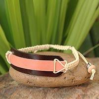 Leather wristband bracelet, 'Salmon Band' - Leather Wristband Bracelet from Thailand