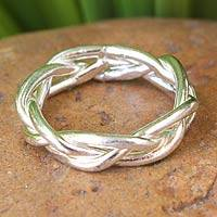 Sterling silver band ring, 'Intertwining'