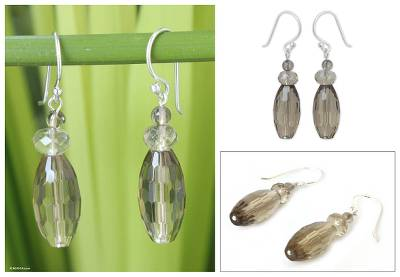 Smoky quartz dangle earrings, 'Evening Mystique' - Handcrafted Smoky Quartz Earrings